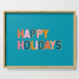 Colorful Happy Holidays Typography Serving Tray