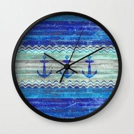 Rustic Navy Blue Coastal Decor Anchors Wall Clock