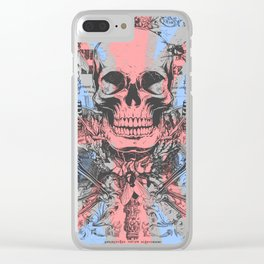 British flag with skull and bones Clear iPhone Case