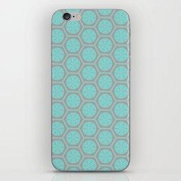 Hexagonal Dreams - Grey & Turquoise iPhone Skin