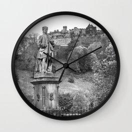 allan ramsay statue and edinburgh castle Scotland Wall Clock