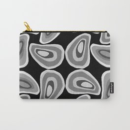 Retro Black White Grey Swirling Shape Pattern Carry-All Pouch