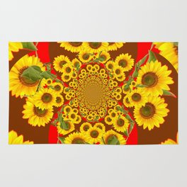 BROWN-RED SUNFLOWERS ABSTRACT Rug