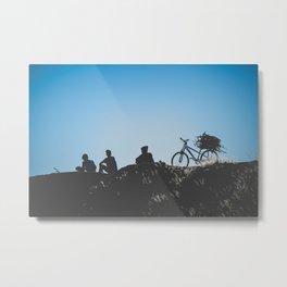 Teenagers sitting on a Hill Metal Print