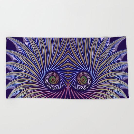Fantasy bird's eye, fractal pattern abstract Beach Towel