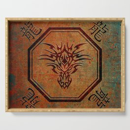 Tribal Dragon Head In Octagon With Dragon Chinese Characters Serving Tray