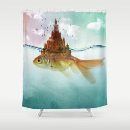 Goldfish Castle Shower Curtain