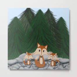 The Fox Family Metal Print