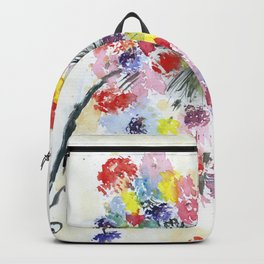 Dandelion watercolor illustration, rainbow colors, summer, free, painting Backpack