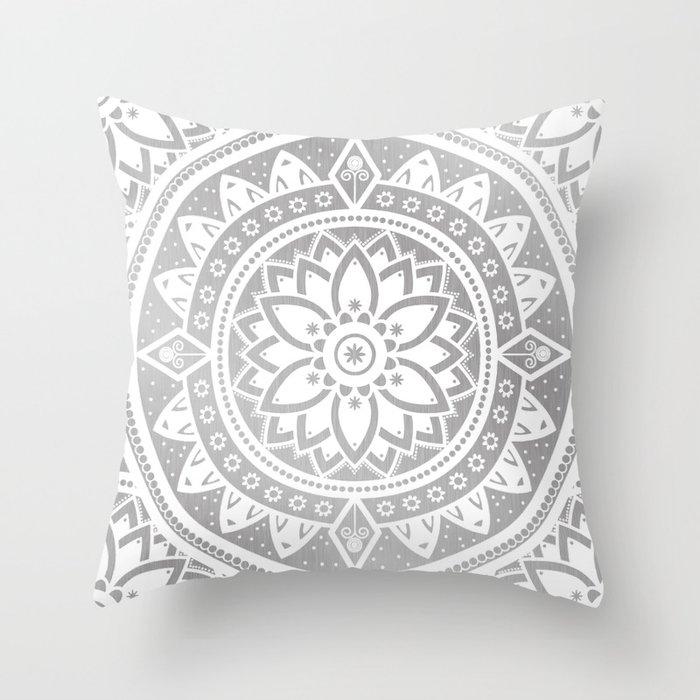 Silver White Patterned Flower Mandala Throw Pillow