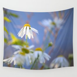 Daisies on a sunny summer day with blue sky Wall Tapestry