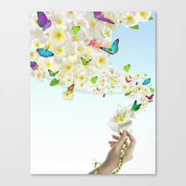 Plumeria Butterflies Canvas Print