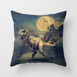 Dinosaurs in the ruins by GEN Z Throw Pillow