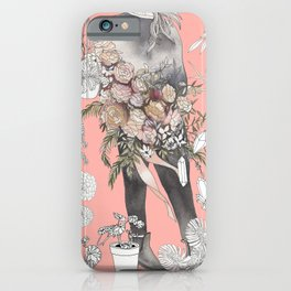 Flower Babe in Gray iPhone Case