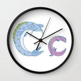 C Uppercase/Lowercase Pair, no border Wall Clock