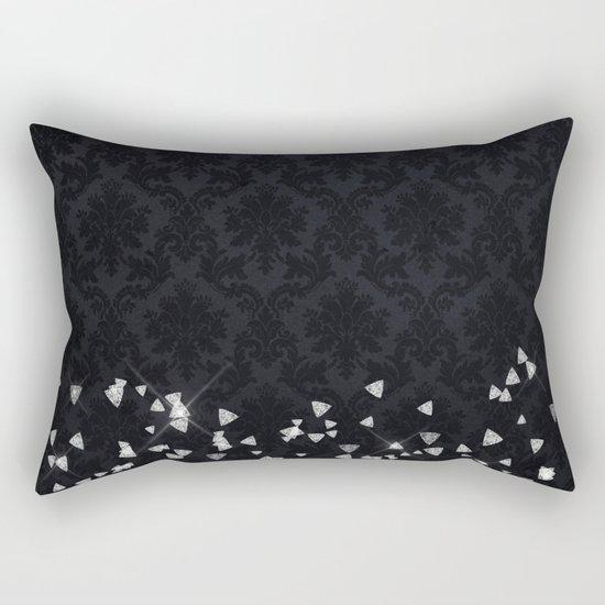 Glitter Diamonds on black damask - Luxury design Rectangular Pillow