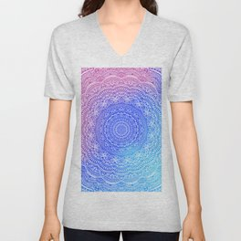 Beautiful colorful rainbow mandala Sophisticated ornament pink and violet cyan Unisex V-Neck