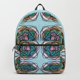 Around We Go Abstract Pattern Blue Backpack