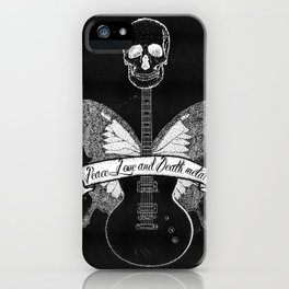 peace love and death metal iPhone Case