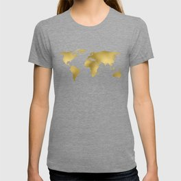 Metallic Gold Foil World Map On Black T-shirt