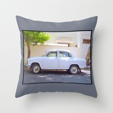 Indian Ambassador car in Pondicherry Throw Pillow