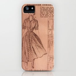 Vintage sewing pattern, 1950s  iPhone Case