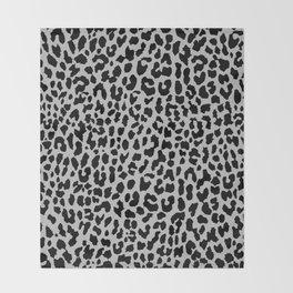 Neon Gray Leopard Throw Blanket