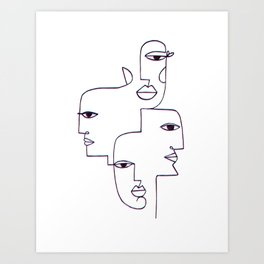 Faces Line Art Art Print