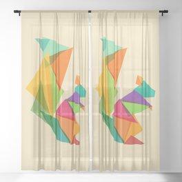 Fractal geometric Squirrel Sheer Curtain