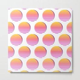 80s Gradient Retro Vaporwave Sun Metal Print