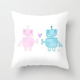 robots in love Throw Pillow