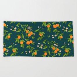 Citrus Tree - Navy Beach Towel