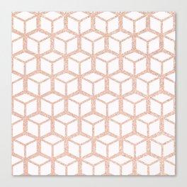 rose gold cubes pattern Canvas Print