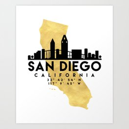 SAN DIEGO CALIFORNIA SILHOUETTE SKYLINE MAP ART Art Print