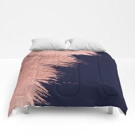 Navy blue abstract faux rose gold brushstrokes Comforters