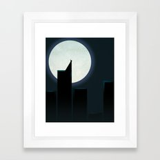 Smooth Heroes - A dark knight in front of the moon Framed Art Print