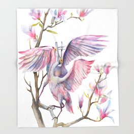 Two spoonbills on a Magnolia tree, Roseate Spoonbill, Magnolia Throw Blanket