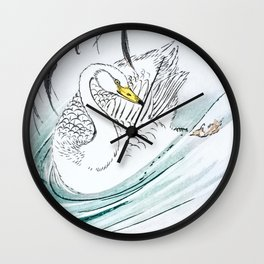 Whooper Swan Swimming In Lake - Vintage Japanese Woodblock Print Art By Numata Kashu (1885) Wall Clock