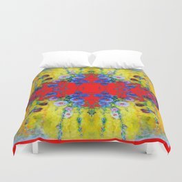 WESTERN YELLOW & RED GARDEN GOLD BLUE FLOWERS Duvet Cover