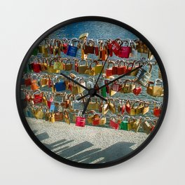 Love Locks, Pont des Arts Bridge, No.2, Paris, France Wall Clock
