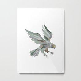 Peregrine Falcon Swooping Grey Low Polygon Metal Print