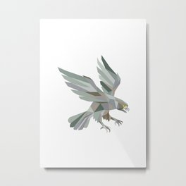 Peregrine Falcon Swooping Grey Low Polygon Metal Print