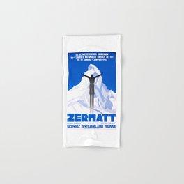1931 Zermatt Switzerland Ski Travel Poster Hand & Bath Towel
