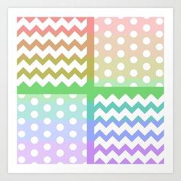 Pastel Rainbow/White Chevron/Polkadot Pillow Art Print
