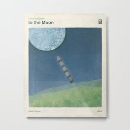 Jules Verne's From the Earth to the Moon - Minimalist literary design, bookish gift Metal Print
