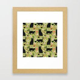 Black cat sushi cat breeds cat lover pattern art print cat lady must have Framed Art Print