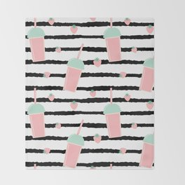 cute lovely pattern background with strawberry smoothies on black brush Throw Blanket