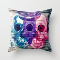 skulls Throw Pillows featuring Skulls by very giorgious