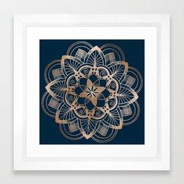 Lotus metal mandala on blue Framed Art Print