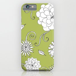 Sweet daisies on lime green iPhone Case